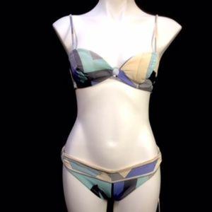Vtg 1960's Emilio Pucci Aqua Gray Bikini